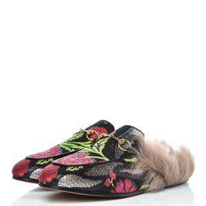Gucci Tapestry Brocade Fur Floral Princetown Slide